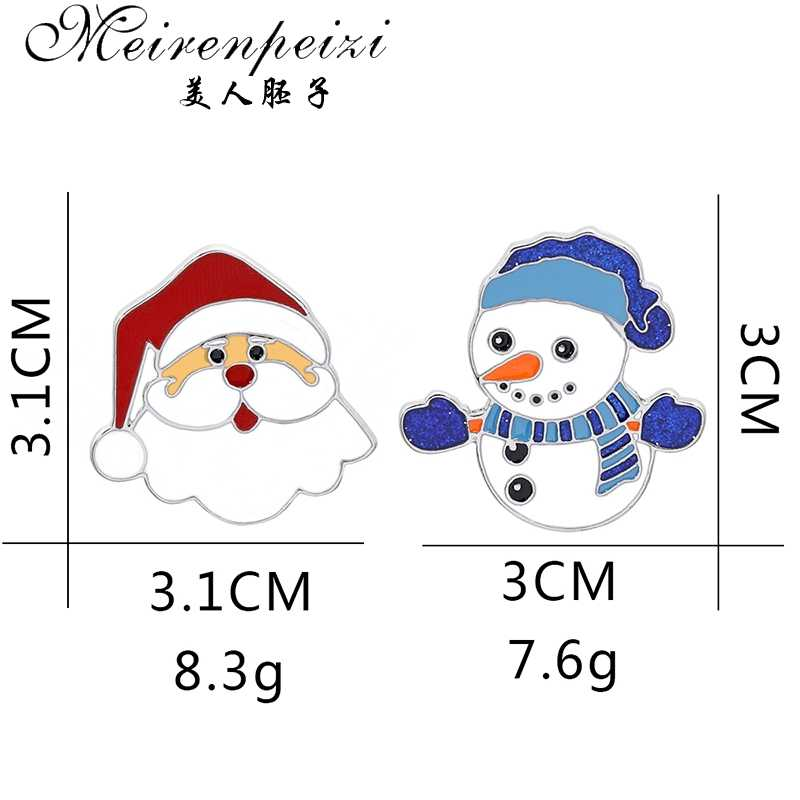 Meirenpeizi Selamat Natal Bros Lucu Santa Claus Topi Sarung Tangan Lonceng Kaus Kaki Donat Permen Enamel Pin Bros