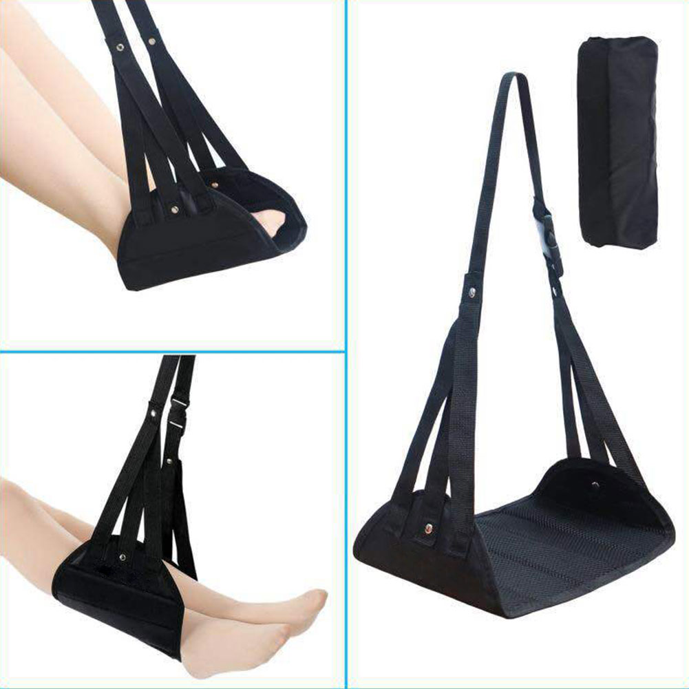 Memory Foam Adjustable Airplane Office Home Hanging Relaxed Leg Portable Prevent Swelling Long Travel Flight Footrest Hammock