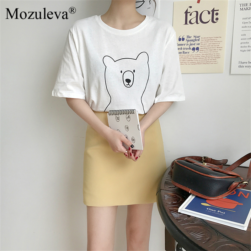 H190a038e1e744c23a4d27c468f41cc71y Mozuleva 2020 Chic Cartoon Bear Cotton Women T-shirt Summer Short Sleeve Female T Shirt Spring White O-neck Tees 100% Cotton