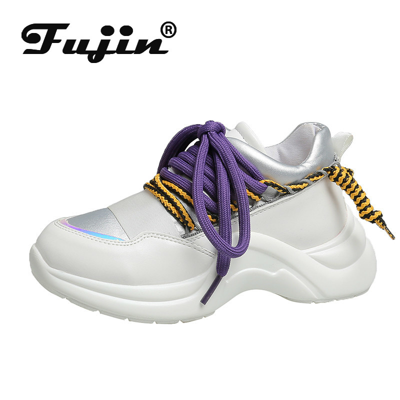 Fujin Spring Autumn Thick Bottom Shallow Lace Sneakers  Dropshipping Women Breathable Mixed Colors Leisure Fashion Women Shoes