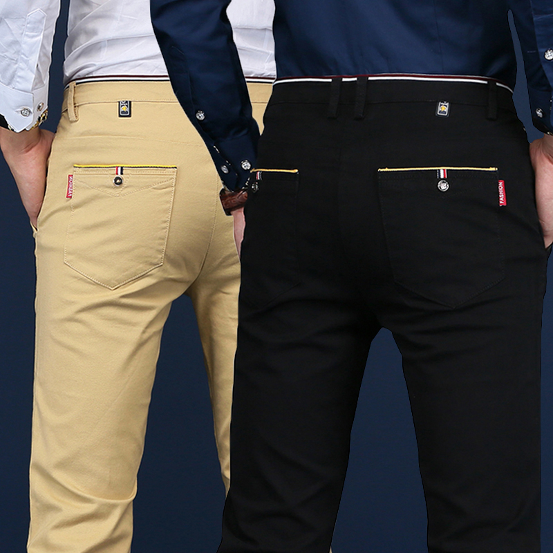 VODOF 2019 Spring Winter New Casual Pants Men Cotton Slim Fit Chinos Fashion Trousers Male Brand Clothing Plus Size Business