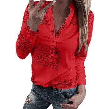Women V Neck Tshirt Streetwear Special Design Letters Printing Button Long Sleeve T-Shirt Tops Tee Shirt Blusas