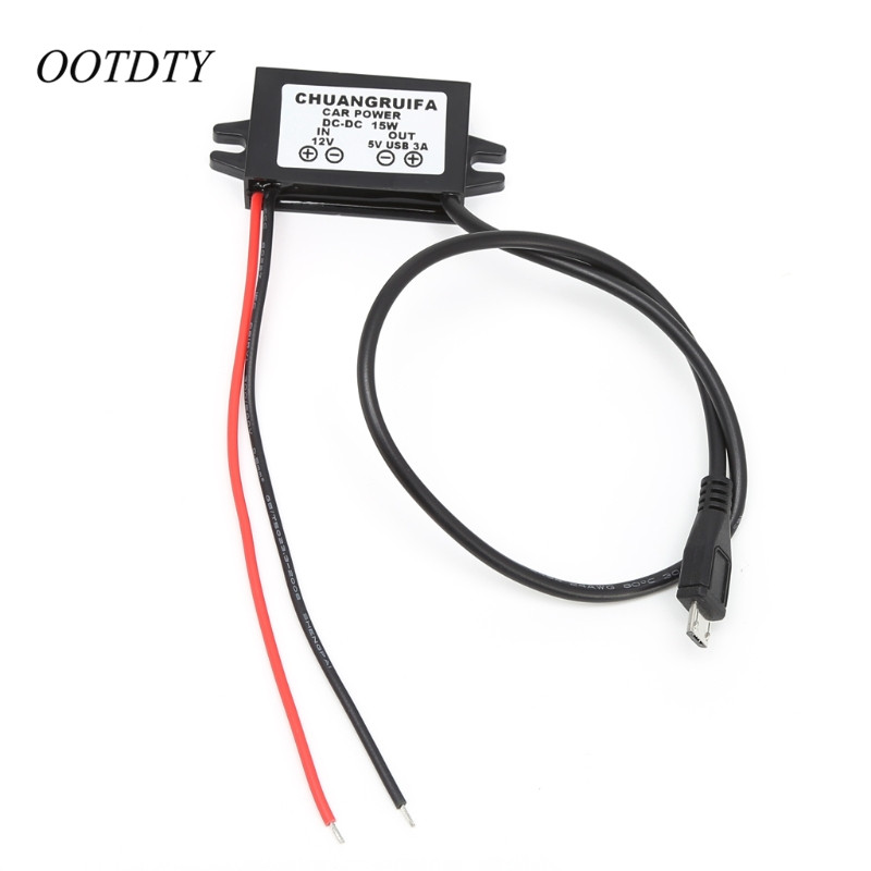 OOTDTY 1Pc <font><b>Car</b></font> Charge <font><b>DC</b></font> <font><b>Converter</b></font> Module <font><b>12V</b></font> <font><b>To</b></font> <font><b>5V</b></font> Micro USB Output <font><b>Power</b></font> <font><b>Adapter</b></font> <font><b>3A</b></font> 15W image