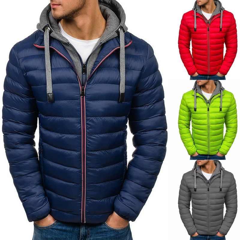 SHUJIN 2019 chaqueta de invierno Parka informal con capucha para hombre, abrigos acolchados de algodón a la moda para hombre, abrigos gruesos y cálidos, prendas de vestir ligeras