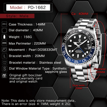 PAGANI DESIGN New Luxury Men Mechanical Wristwatch Stainless Steel GMT Watch Top Brand Sapphire Glass Men Watches reloj hombre 2