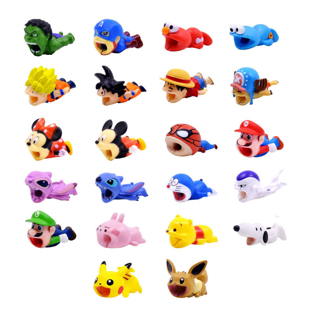 CHIPAL Cartoon Bite Animal Cable Protector For IPhone USB Charger Wire Winder Organizer Chompers Luffy Son Goku Stitch Holder