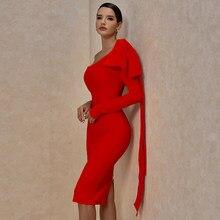 Ocstrade pasarela de moda moño rojo vestido vendaje vestido de Otoño de 2020 de las mujeres de invierno Sexy un hombro Bandage vestido Bodycon Club vestido de fiesta