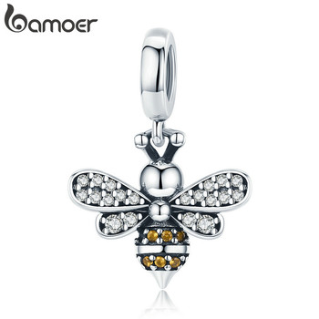 BAMOER Genuine 925 Sterling Silver Crystal Bee Crystal Charm fit Women Charm Bracelets DIY Jewelry Girlfriend Gift SCC821