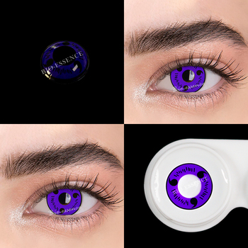1pair(2pcs) 1 Year Cosplay Sharingan Contact Lenses for Eyes Colored Red Uchiha Sasuke Hatake Kakashi Anime Accessories - 1