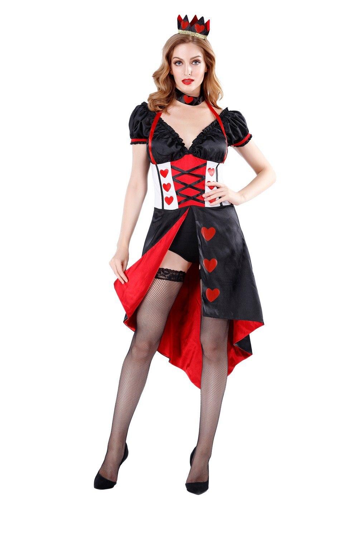 Для взрослых женщин s Deluxe Алиса в стране чудес Королева сердец костюм нарядное платье для женщин Хэллоуин вечерние костюмы принцессы для косплея