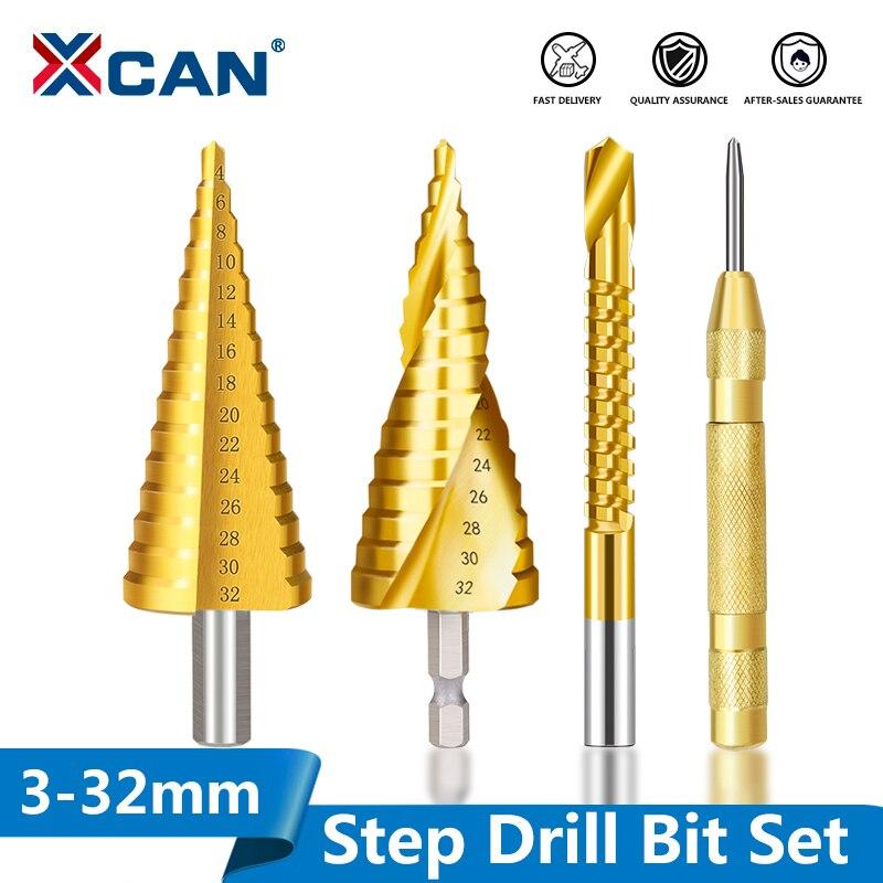 Набор ступенчатых сверл XCAN из быстрорежущей стали, биты по дереву и металлу с титановым покрытием, диаметр 3-13 -20, 4-32 мм