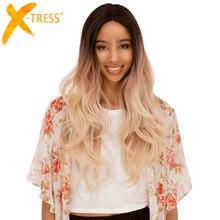 Perruque Lace Front Wig synthétique Body Wave longue ombré, brun blond, raie centrale duveteuse, cheveux naturels doux pour femmes noires, X-TRESS