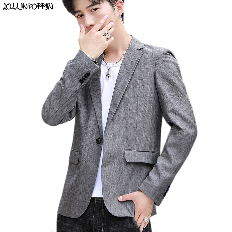 Men Gray Casual Blazers Notched Lapel Suit Jacket Korean Fashion Mens Single-Button Melange Grey Blazer