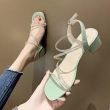 fashion Shiny Crystal Ribbon flat Heel Sandals Women Open Toe Ankle Strap Summer Shoes Women Chunky Heel Sandals 2020