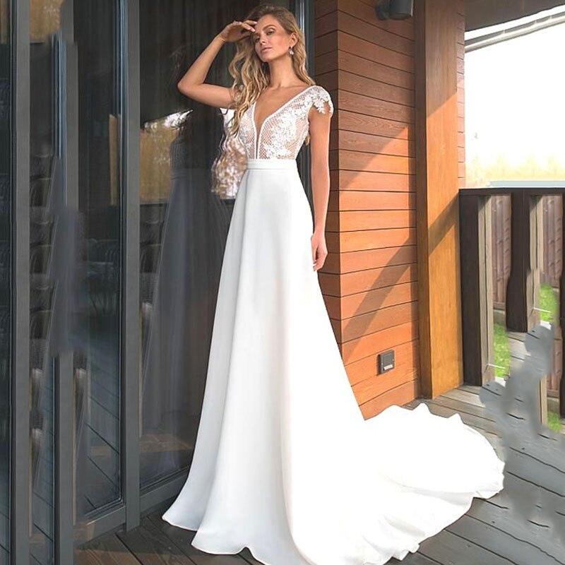 Eightree A Line Wedding Dresses Satin Cap Sleeve Lace Appliques Bridal Dress Boho V Neck Wedding Gown Backless Vestido De Noiva