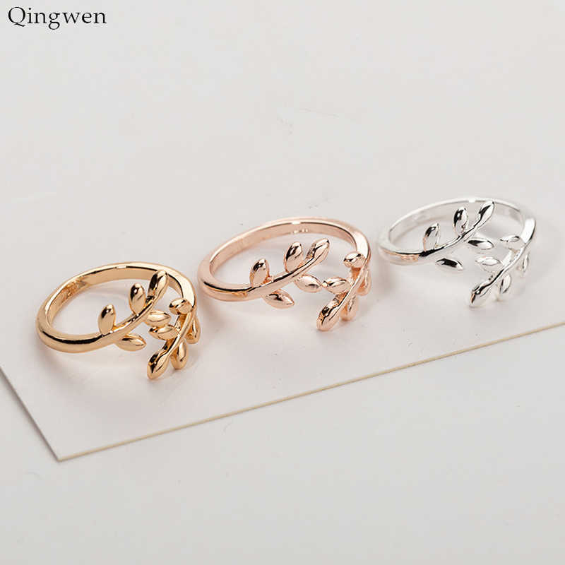 Qingwen Charms Two Colors Olive Tree Branch Leaves Open Ring for Women Girl Wedding Rings Adjustable Knuckle Finger Jewelry