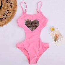 Girl Swimsuit Monokini One-Piece Beachwear Kids Heart Sequnied Children's