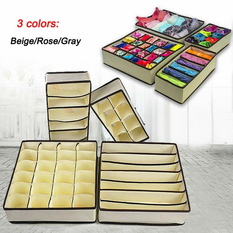6/7/8/24 Grids Underwear Bra Storage Box Foldable Storage Box Drawer Organizers Socks Storage Bag Cabinet Socks Storage Boxes