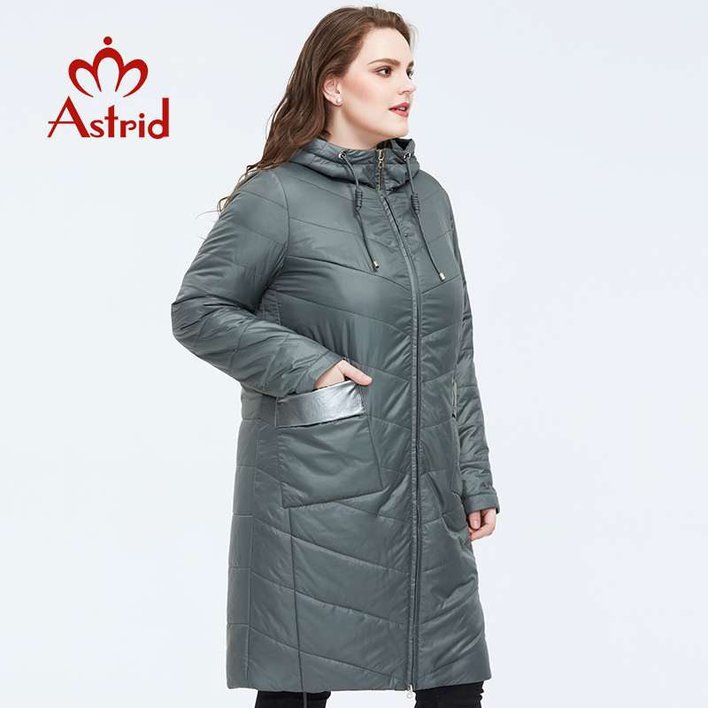 Astrid 2020 Spring Warm Thin Cotton Jacket Mid-length Style Loose Clothing With  Hood Casual Female Plus Size Women Coat AM-9418