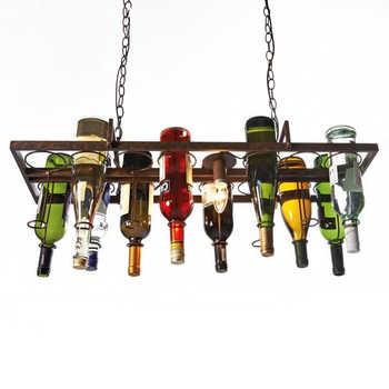 Recycled Retro Hanging Wine Bottle Vintage Iron Pendant Lamp E27 Pendant Lights Fixture For Living Room Bar Kitchen Room Bedroom - DISCOUNT ITEM  32% OFF All Category