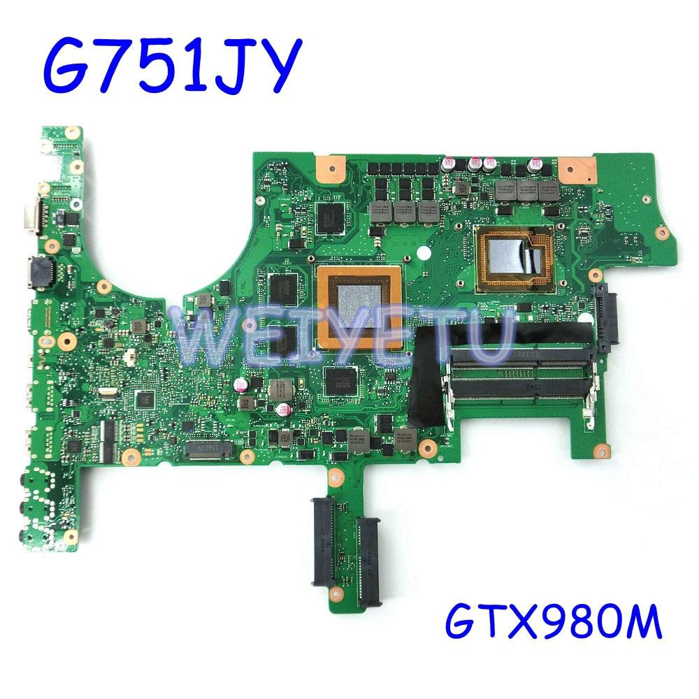 ROG G751JY GeForce GTX980M W/ I7CPU Motherboard For ASUS ROG G751J G751JY G751JT G751 G751JL Laptop Notebook Mainboard Rev2.5