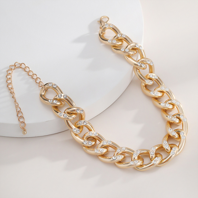 New Punk Choker Necklace for Women 2020 fashion Rhinestone Hip Hop Gold collares Thick Chain Jewelry Gifts#38 4
