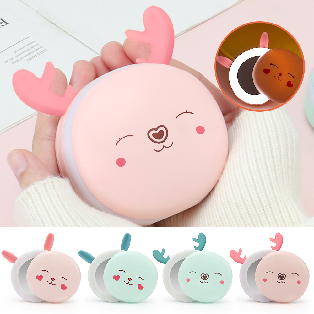 3 In 1 Rabbit/Deer Hand Warmers Usb Charging  Dual-Use Mini With Fill Light And Makeup Mirror For Girls Women Travel