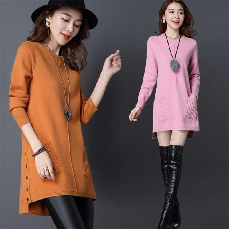 Spring/autumn Women Sweaters Computer Knitted O-neck Sweater Pullover Maternity Autumn Clothing Mid-long Sweaters