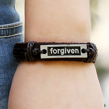 Fashion Brown Genuine Leather Forgiven Engraved Charm Bracelets For Women Men Braid Rope Chain Wholesales(China)
