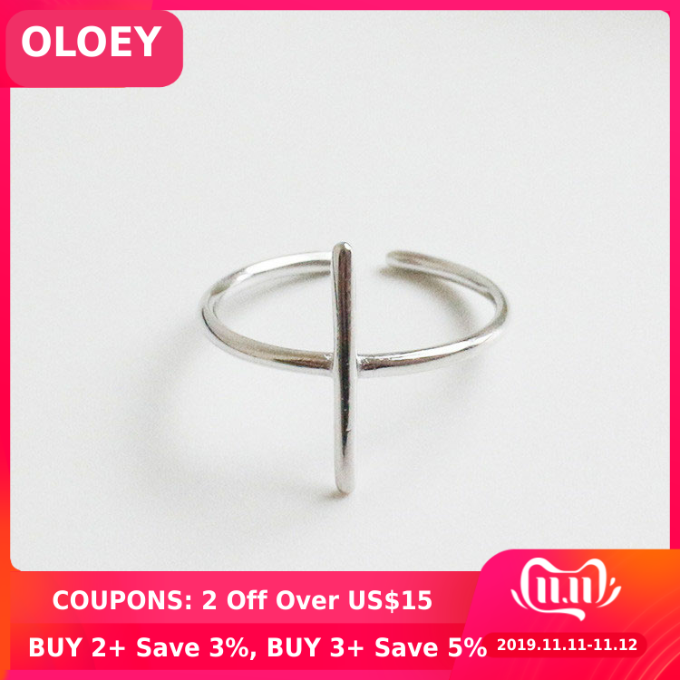 OLOEY Simple Cross Shape Open Rings For Women Pure 925 Sterling Silver Finger Adjustable Ring Fine Accessories Jewelry YMR071