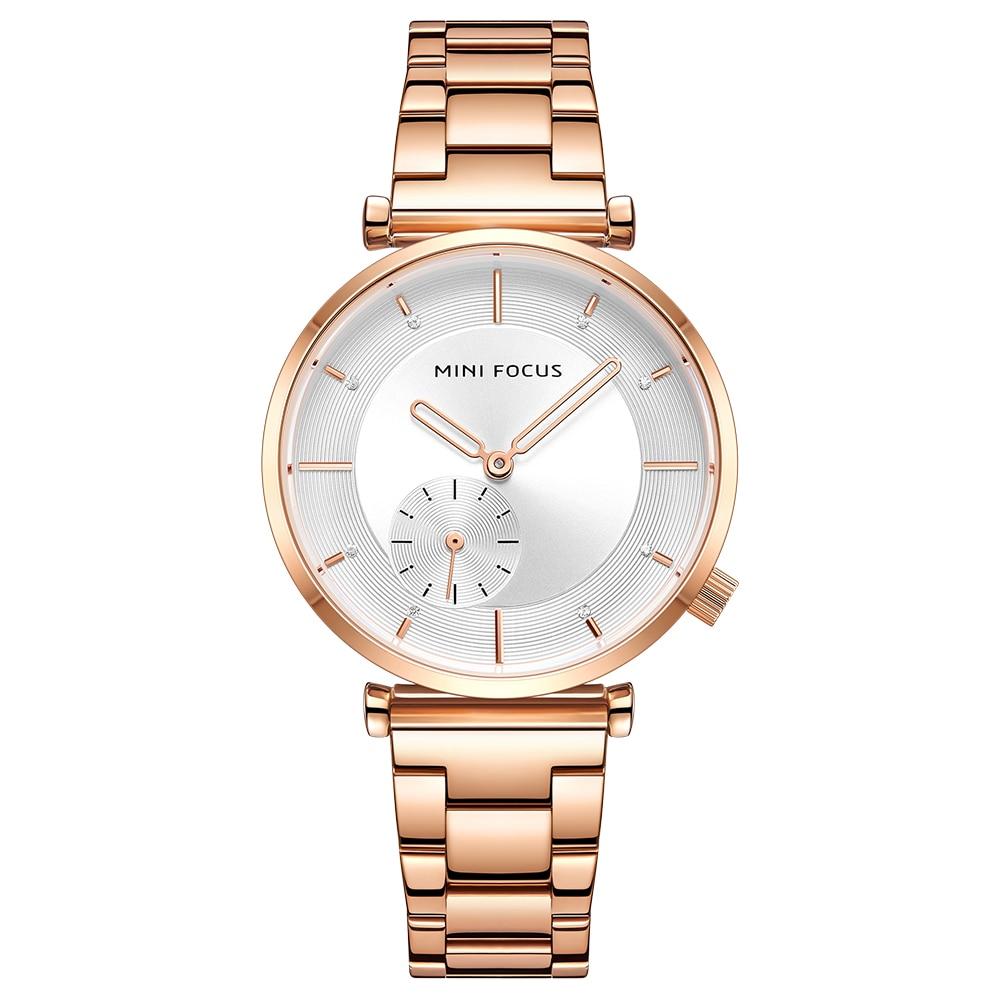 Image 5 - MINI FOCUS Women Watches Brand Luxury Fashion Ladies Watch 30M Waterproof Reloj Mujer Relogio Feminino Rose Gold Stainless SteelWomens Watches   -