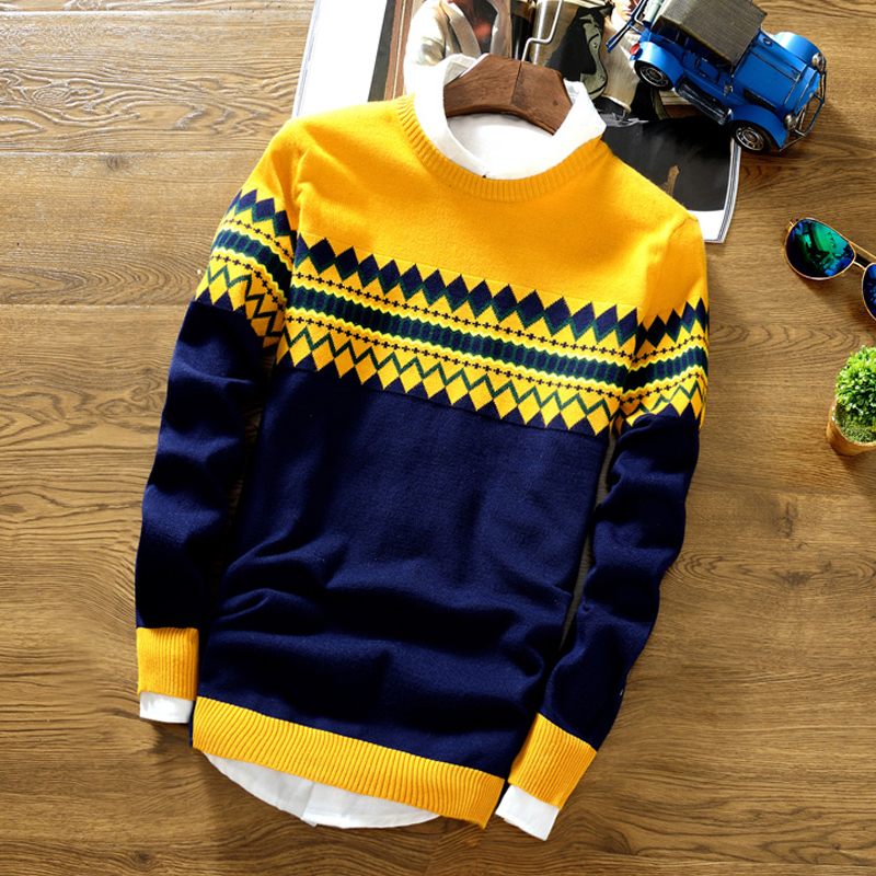 Men Sweater 2020 Autumn Men Long Sleeve Pullovers Outwear Fashion Check Print Round Neck Sweater Slim Fit Knitwear Sweater Top