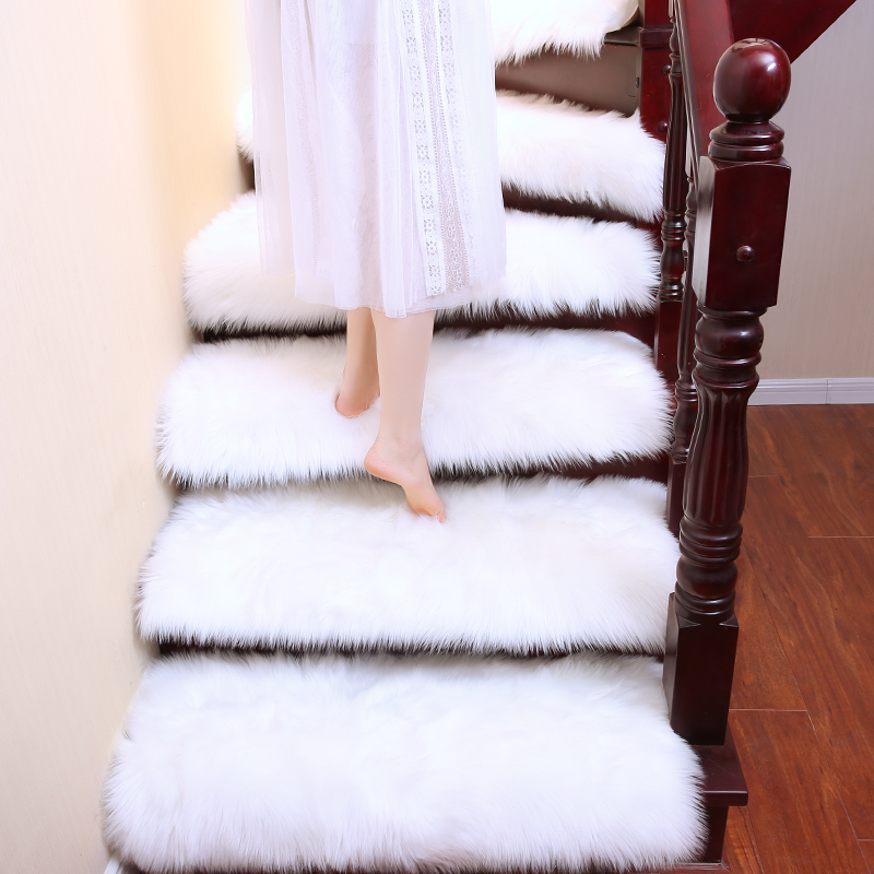 6pcs Luxury Faux Wool Fluffy Carpet Stair Rug Rotating Stair Step Mat Hallway White Grey Fur Rug Lift Decorative Customized