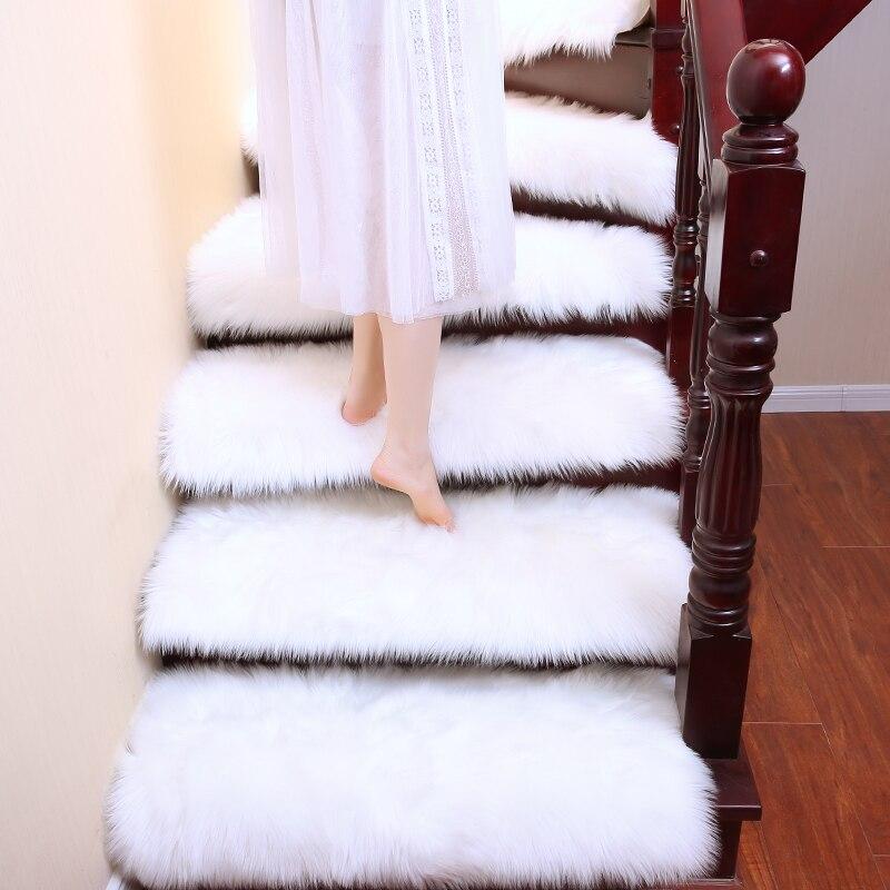 6pcs Luxury Faux Wool Fluffy Carpet Stair Rug Rotating Stair Step Mat Hallway White Grey Fur Rug Lift Decorative Customized Carpet Aliexpress