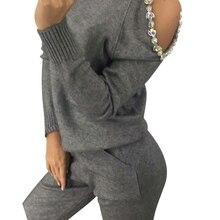 MVGIRLRU kadın örme elbise açık omuz kollu jumper üstler ve pantolonlar bayan iki parçalı setleri