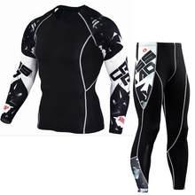 Cw conjunto de roupas de fitness t camisa homens 3d presso mma musculado leggings musculados camada de base topos