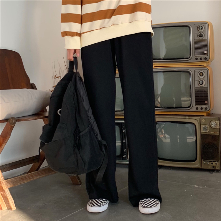 H190bc8fb687144bd90ae387a1b11e580c - Autumn / Winter High Waist Elastic Broadcloth Straight Solid Pants