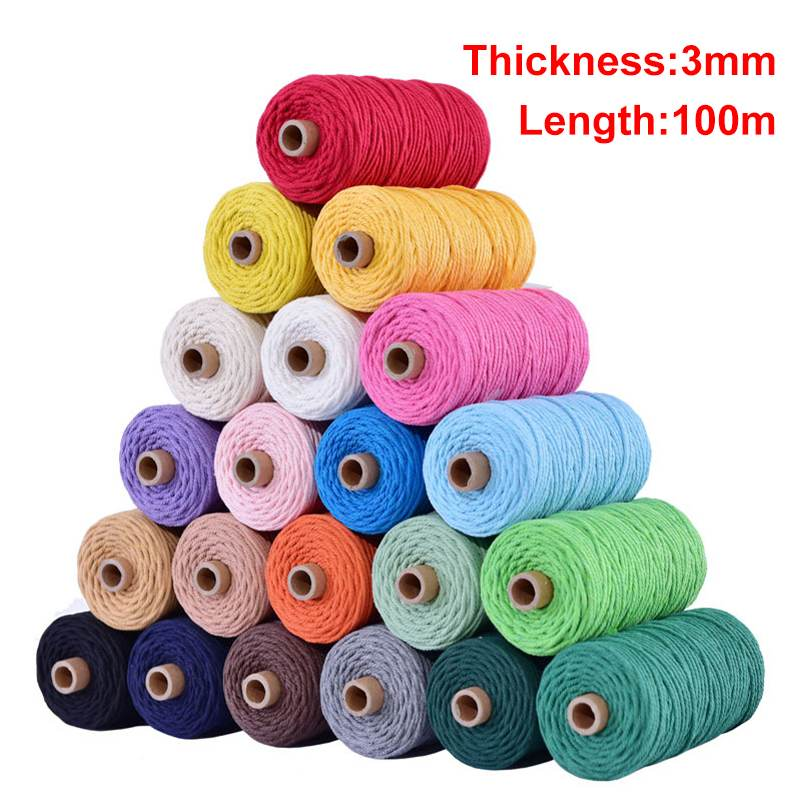 Natural 19 Colour Cotton Twisted Cord Craft Macrame Artisan String 3mm x100m