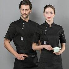 Chef Jacket Workwear Cook Apron Short-Sleeve Bakery Kitchen Restaurant Breathable Women