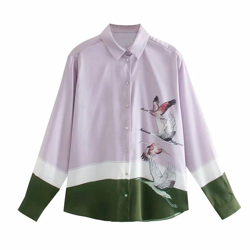 Xnwmnz za 2020 Модные женские свободные Уютные Блузки с животным