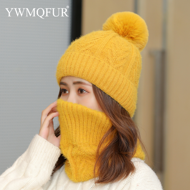 Winter Imitation Mink Cashmere Hat Scarf Sets Solid Female Beanies Caps With Artificial Fox Fur Pompom Thick Warm Lady Girl Hats