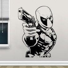 Superhero Deadpool Wall Sticker Gun DC Comics Vinyl Home Decoration Kids Room Boys Bedroom Interior Decals Removable Murals A298