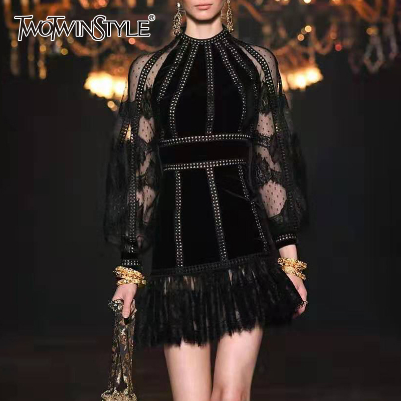 TWOTWINSTYLE Patchwork Lace Dress For Women O Neck Lantern Long Sleeve High Waist Mini Dresses Female 2019 Autumn Fashion New