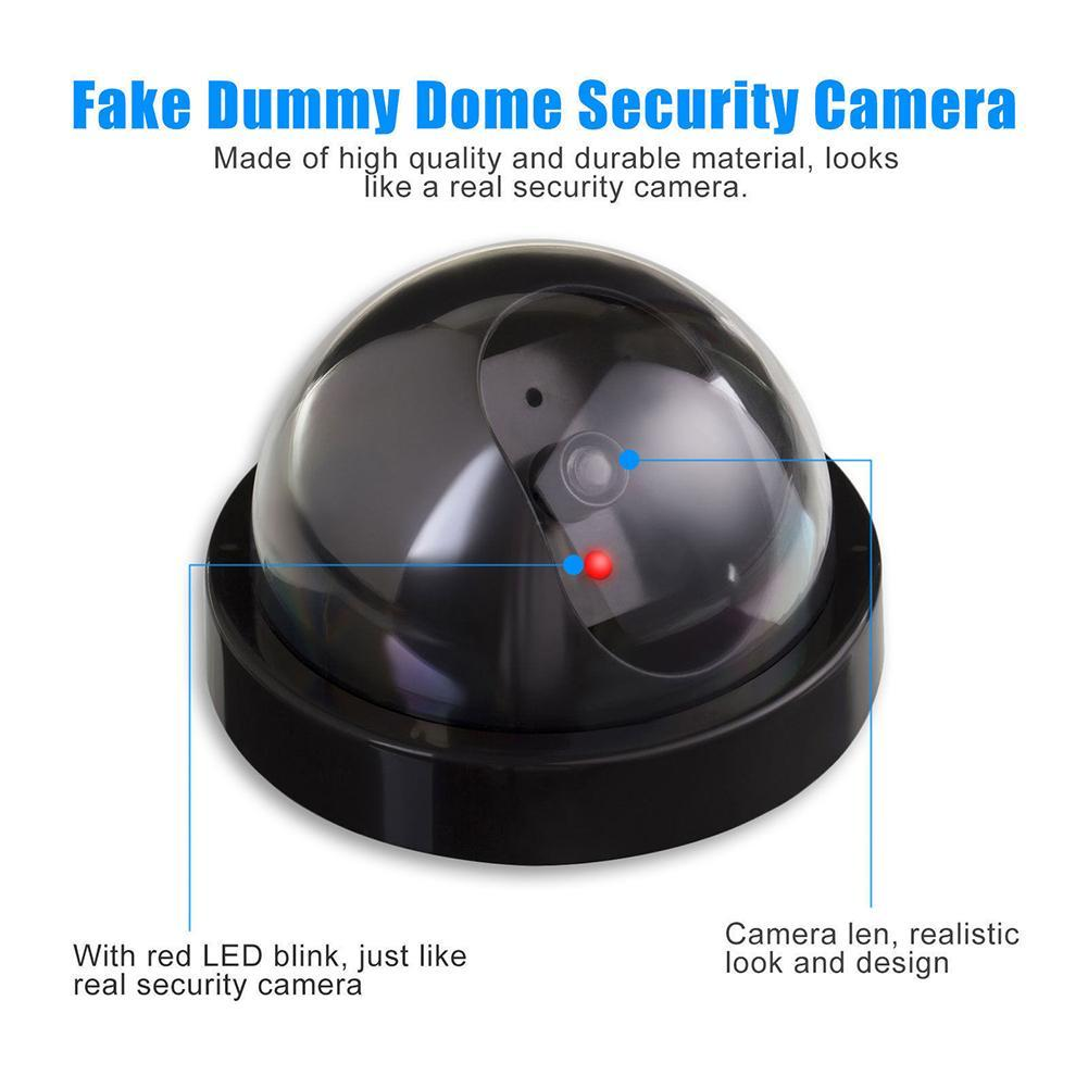 Dummy Fake Surveillance Security Dome Camera Flashing Red LED Light Sticker