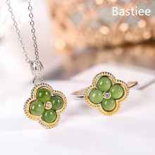Bastiee Green Jade Clover 925 Sterling Silver Jewelry Sets For Women Rings Necklace Pendants Luxury Wedding Gift Girl