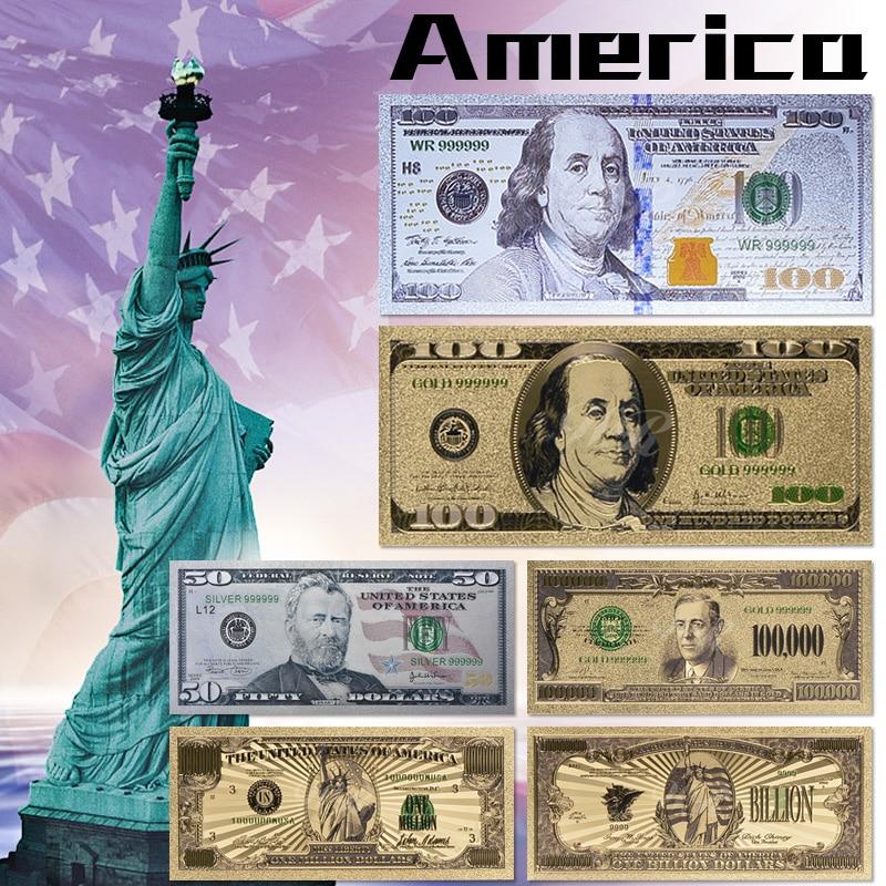 Коллекционный подарок, 2011 год, $100, США, серебряные банкноты, доллар, валюта, мировая банкнота