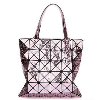 6*6 Newest Tote Bags Geometry Drip Japan Style Women Geometry Bao Tote Handbag Laser Diamond Lattice Shopper Folding Bag - purple