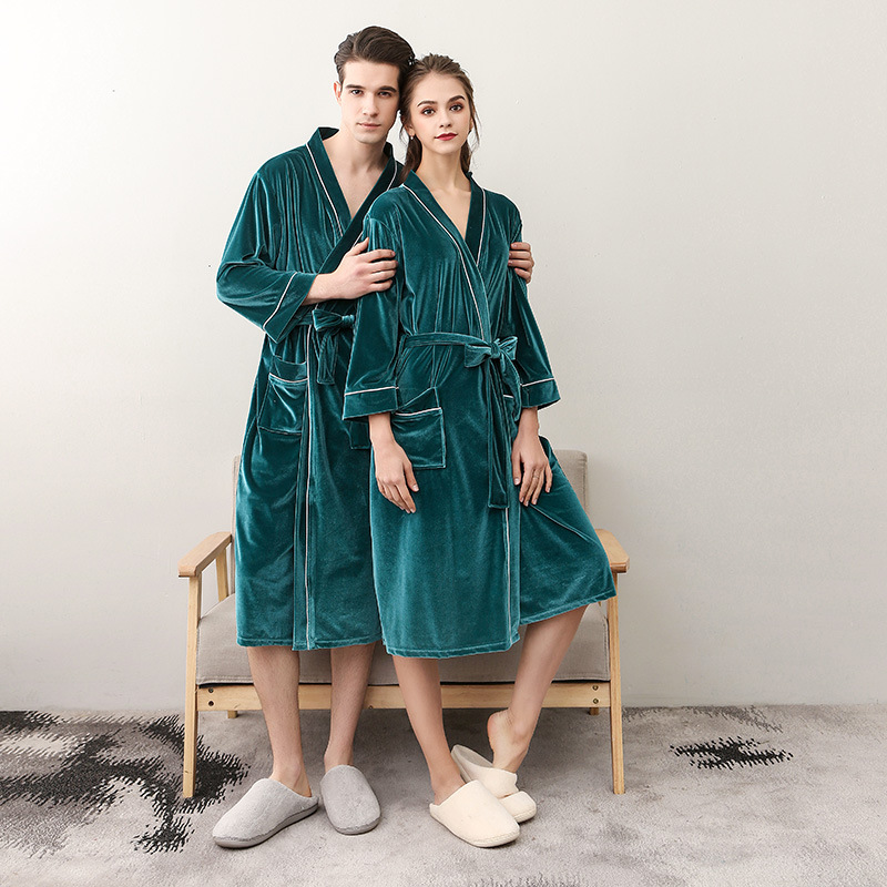 Soft Couple Long Kimono Gown Nightwear Bathrobe Warm Autumn Sexy Belt Pyjamas Nightgown Women Sleepwear Intimate Lingerie
