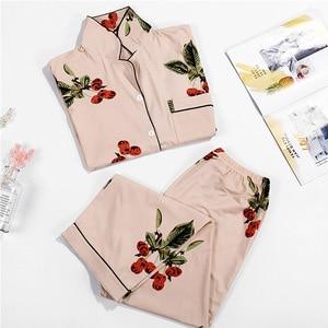 Image 4 - Cotton Sleepwear Women Fashion Pajamas Set for Female Plus Size Pajamas Flower Print Sleepwear Kit Short Sleeve Nightwear L 4XL