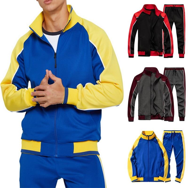 2020 Men's Tracksuit Sport Zip Up Patchwork Print Male Sweatshirt+pants Suit 2 Piece Men's Hoodies Sweatppants Sportswear Sets